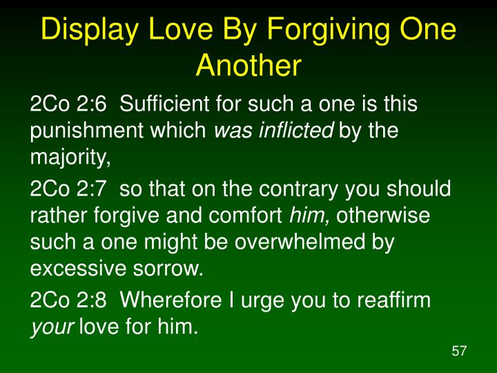 Display Love By Forgiving One Another