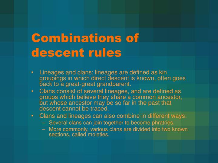 Combinations of descent rules