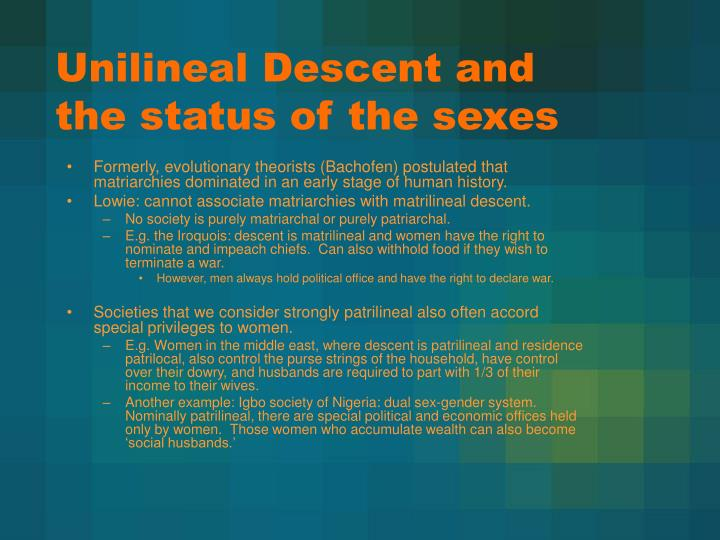 Unilineal Descent and the status of the sexes