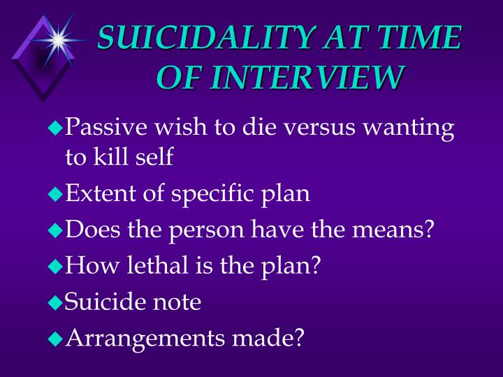 SUICIDALITY AT TIME OF INTERVIEW