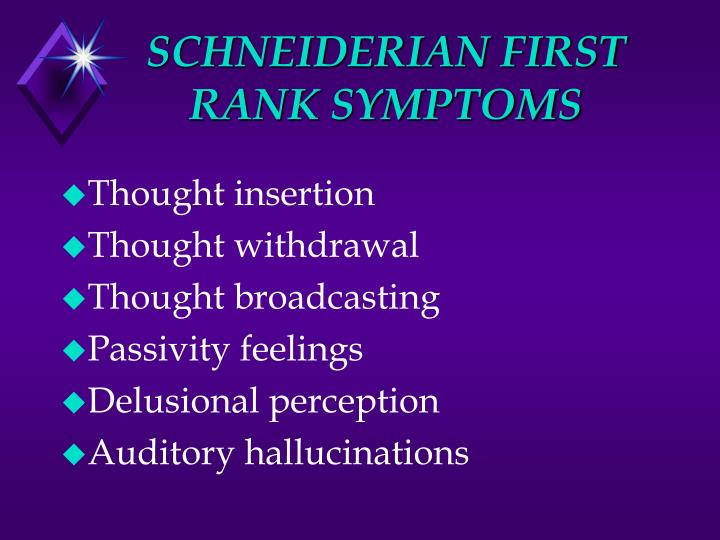 SCHNEIDERIAN FIRST RANK SYMPTOMS