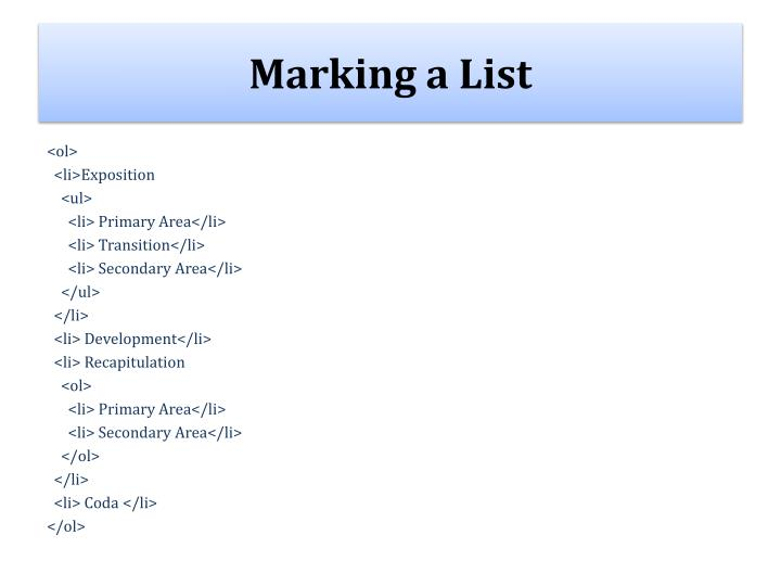 Marking a List