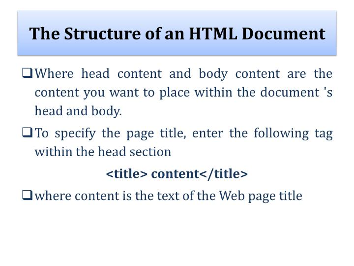 The Structure of an HTML Document