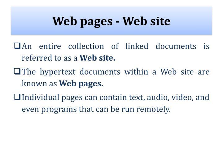 Web pages - Web site