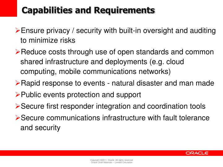 Capabilities and Requirements