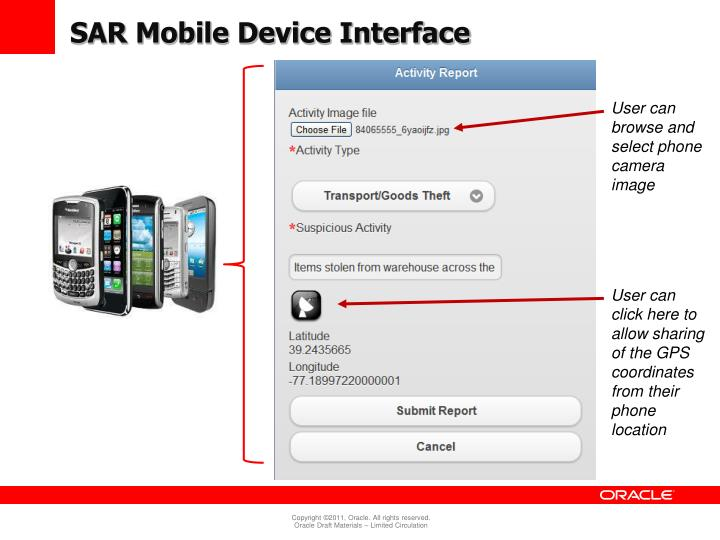 SAR Mobile Device Interface