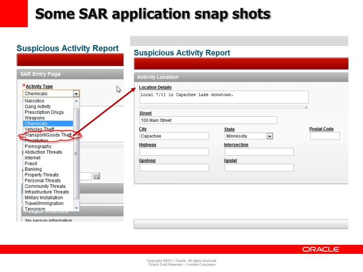 Some SAR application snap shots