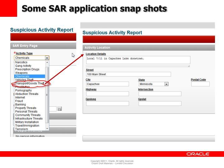 Some SAR application snap shots