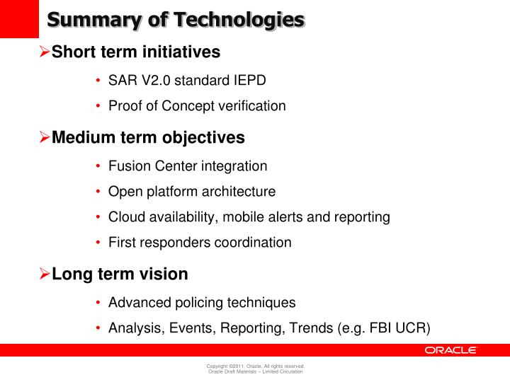 Summary of Technologies