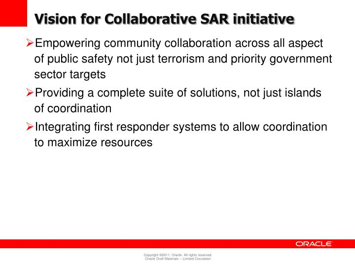 Vision for Collaborative SAR initiative