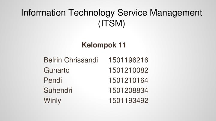 Information technology service management itsm
