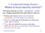 1 st fundamental design decision where to focus security controls