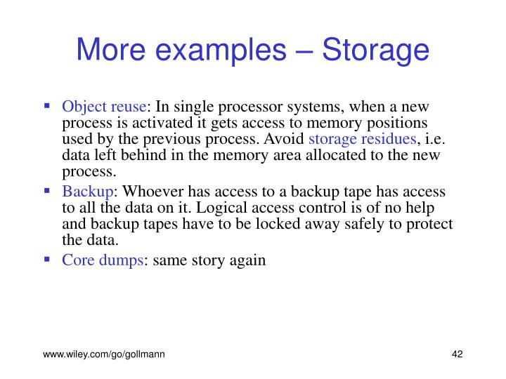 More examples – Storage