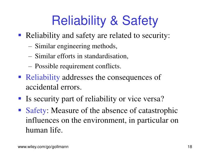 Reliability & Safety