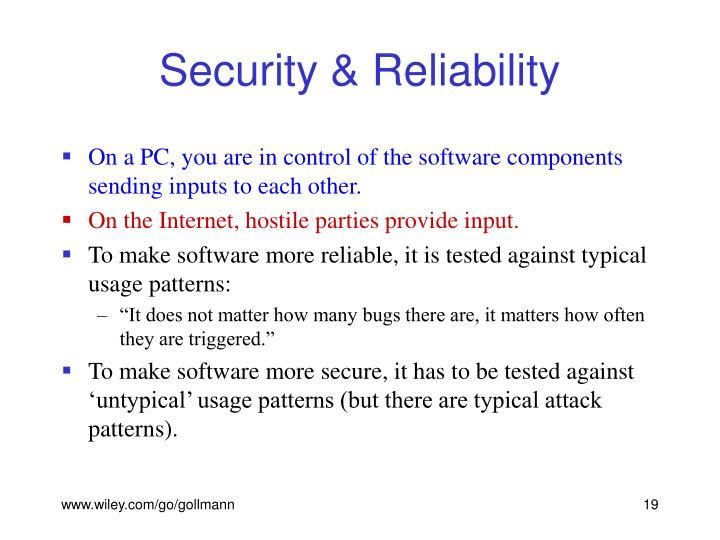 Security & Reliability