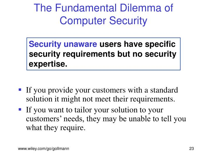 The Fundamental Dilemma of Computer Security