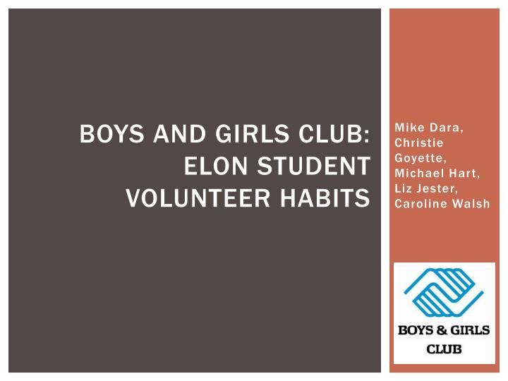 Boys and girls club elon student volunteer habits