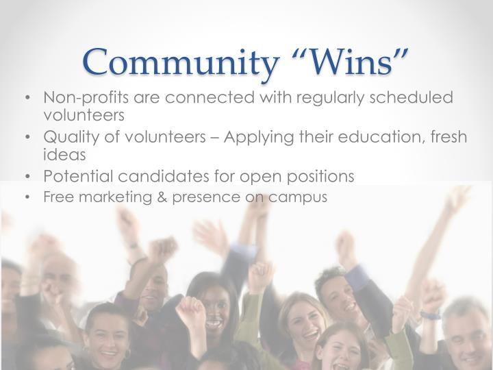 "Community ""Wins"""