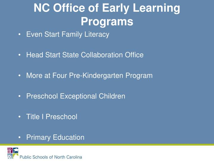 NC Office of Early Learning Programs