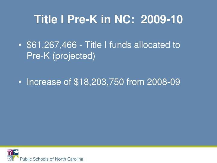 Title I Pre-K in NC:  2009-10