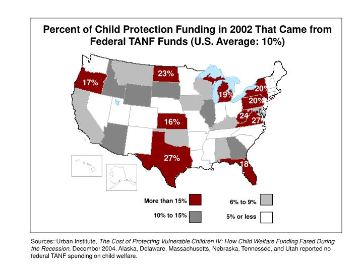 Percent of Child Protection Funding in 2002 That Came from Federal TANF Funds (U.S. Average: 10%)