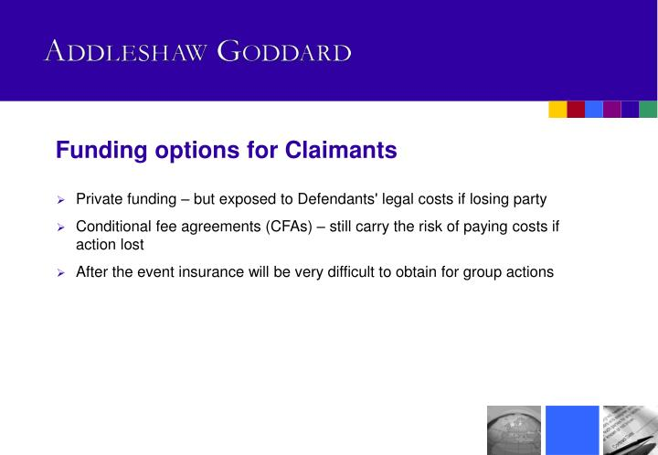 Funding options for Claimants