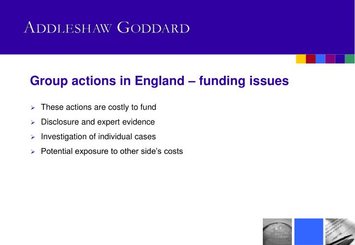 Group actions in England – funding issues