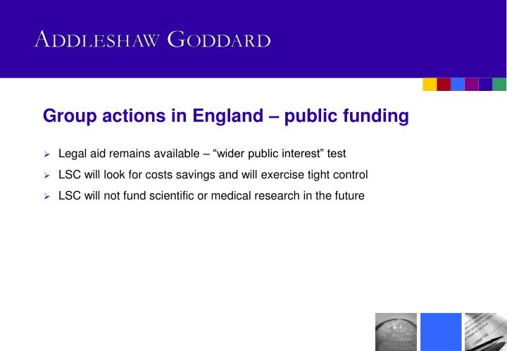 Group actions in England – public funding