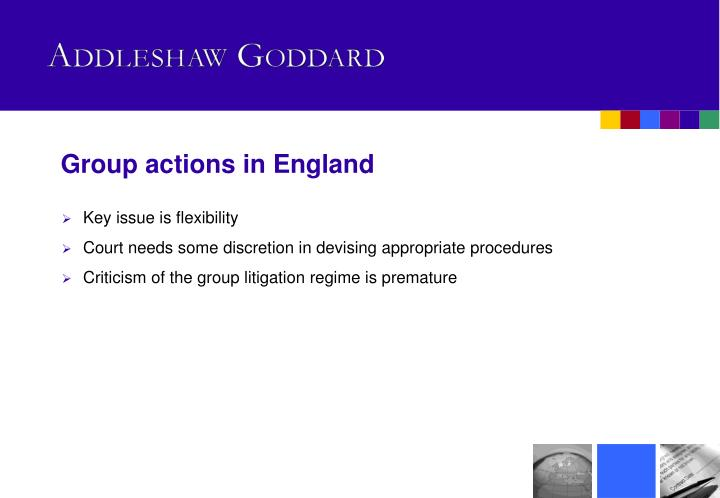 Group actions in England
