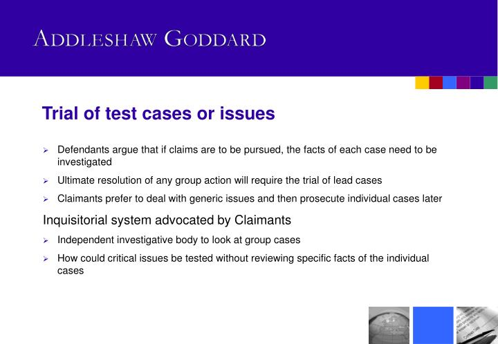 Trial of test cases or issues