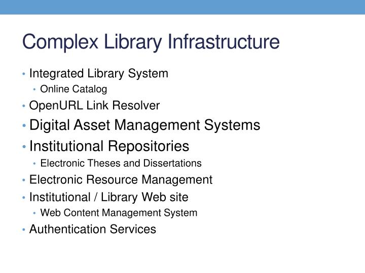 Complex Library Infrastructure
