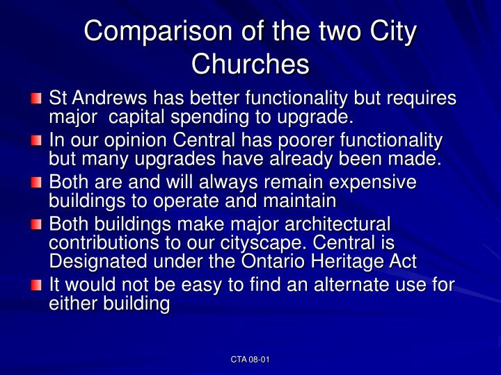 Comparison of the two City Churches