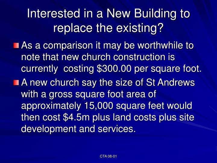 Interested in a New Building to replace the existing?