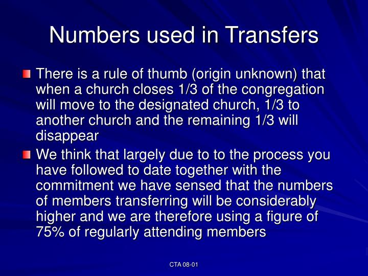 Numbers used in Transfers