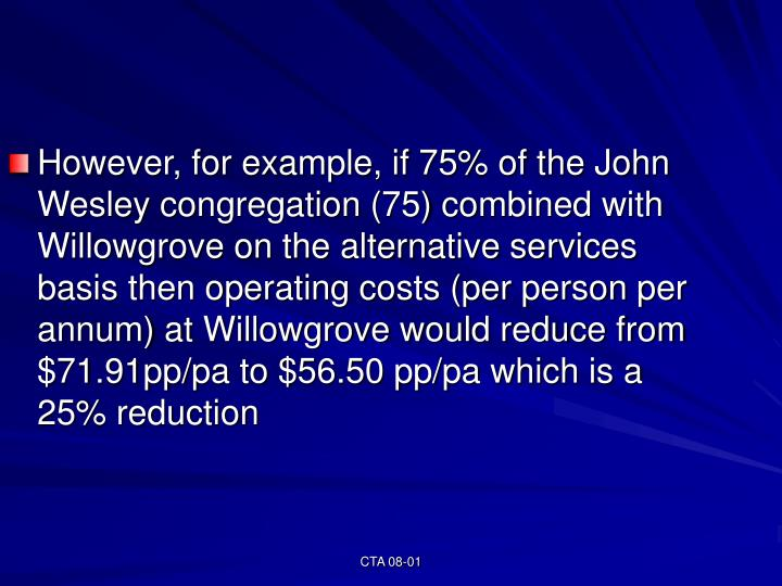 However, for example, if 75% of the John Wesley congregation (75) combined with Willowgrove on the alternative services basis then operating costs (per person per annum) at Willowgrove would reduce from $71.91pp/pa to $56.50 pp/pa which is a 25% reduction