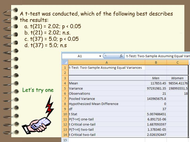 A t-test was conducted, which of the following best describes