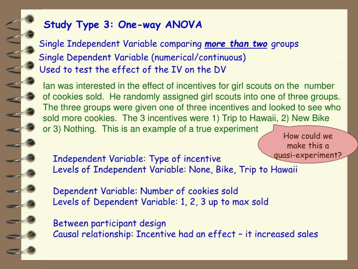 Study Type 3: One-way ANOVA