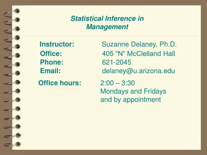 Statistical inference in management