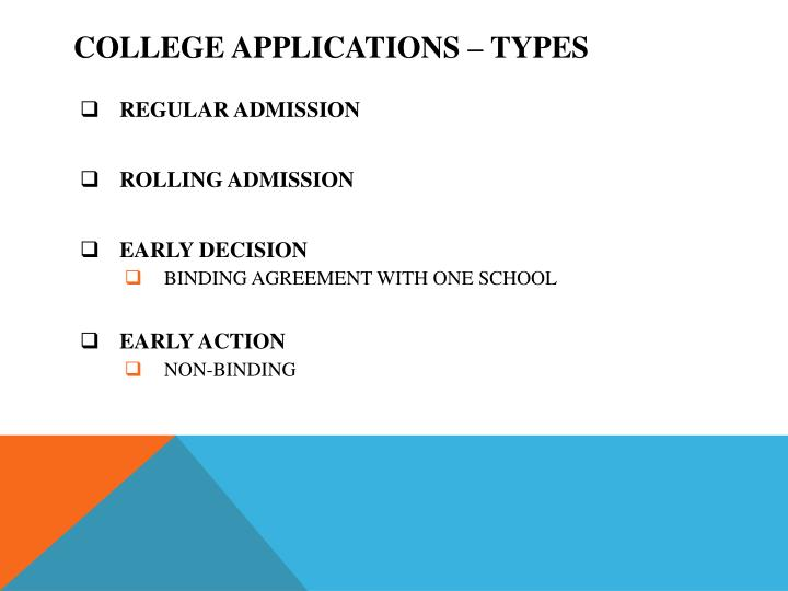 College APPLICATIONS – TYPES