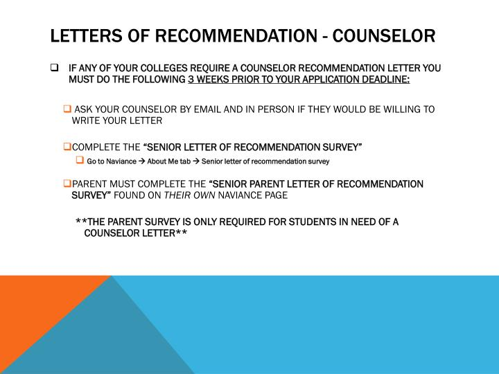 Letters of recommendation - counselor