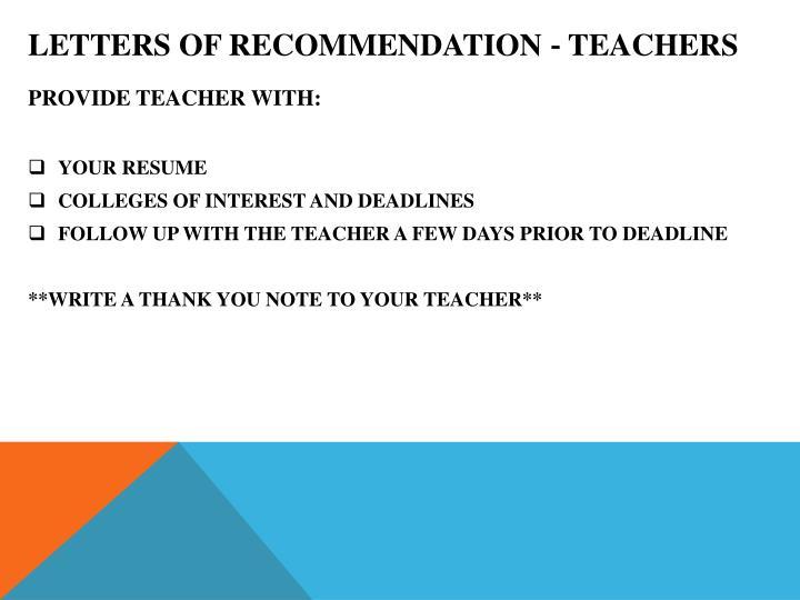 LETTERS OF RECOMMENDATION ‐ TEACHERS