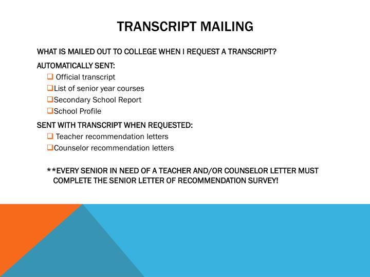 Transcript Mailing