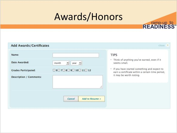 Awards/Honors