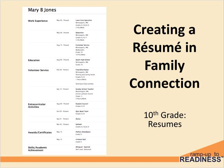 Creating a r sum in family connection