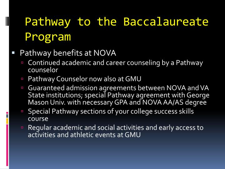 Pathway to the Baccalaureate Program