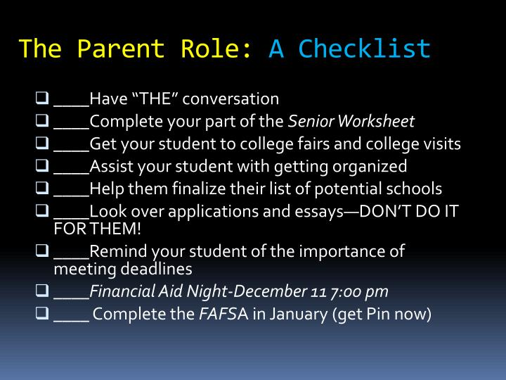 The Parent Role: