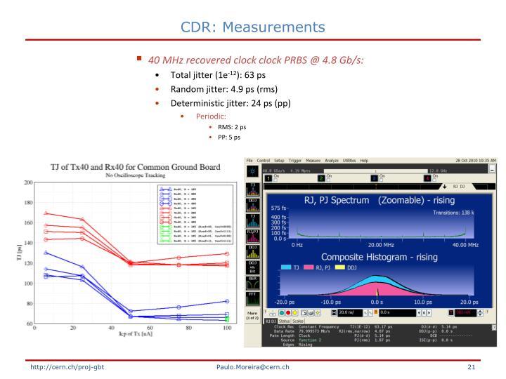 CDR: Measurements