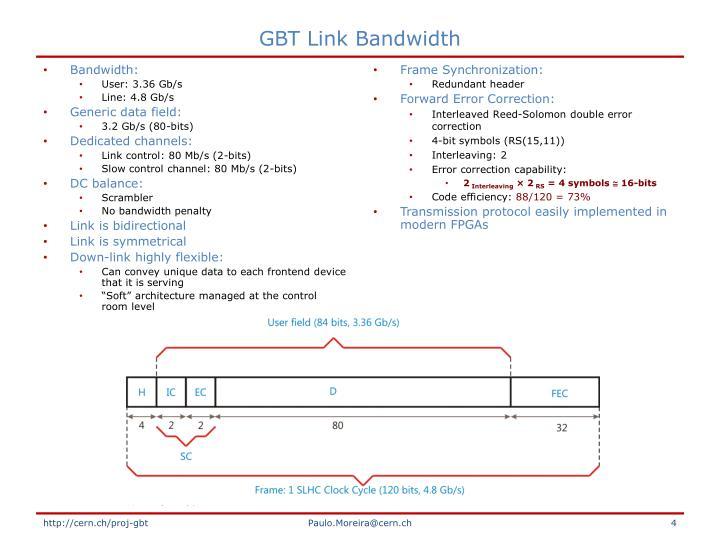 GBT Link Bandwidth