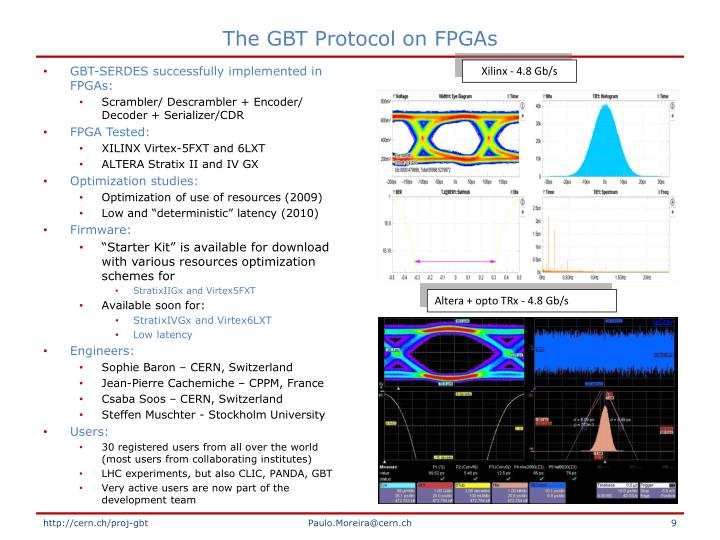 The GBT Protocol on FPGAs