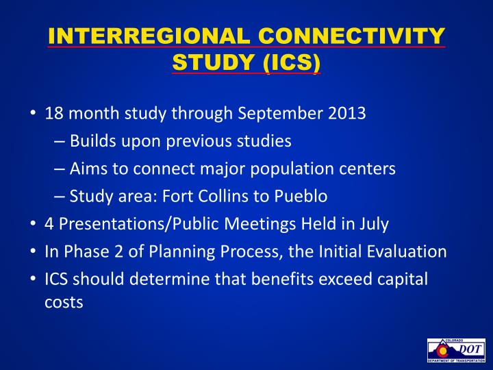 Interregional Connectivity Study (ICS)